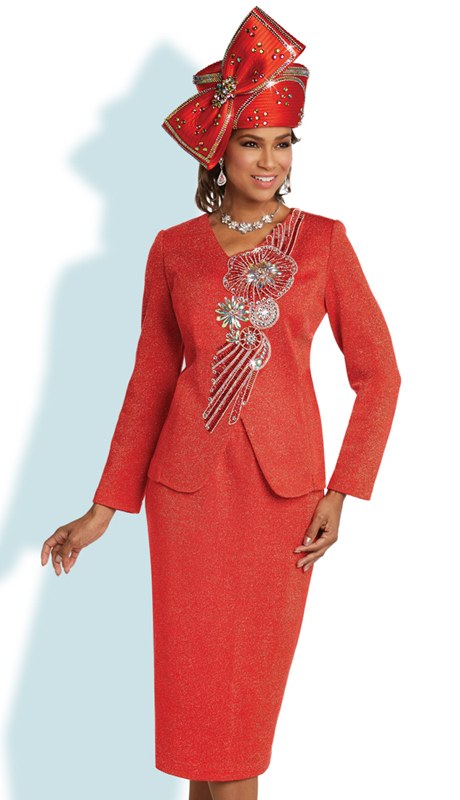 Donna Vinci 13261 ( 2pc Exclusive Knit First Lady Suit With Elaborate Rhinestone Design )