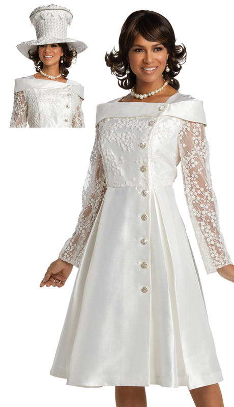 Donna Vinci 11740 ( 1pc Silk Ladies Church Dress With Rhinestones Buttons )