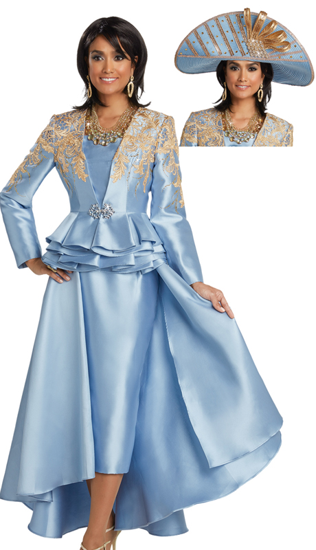 Donna Vinci 11738 ( 2pc Silk Suit For Sunday With Gold Lace And Rhinestone Buckle )
