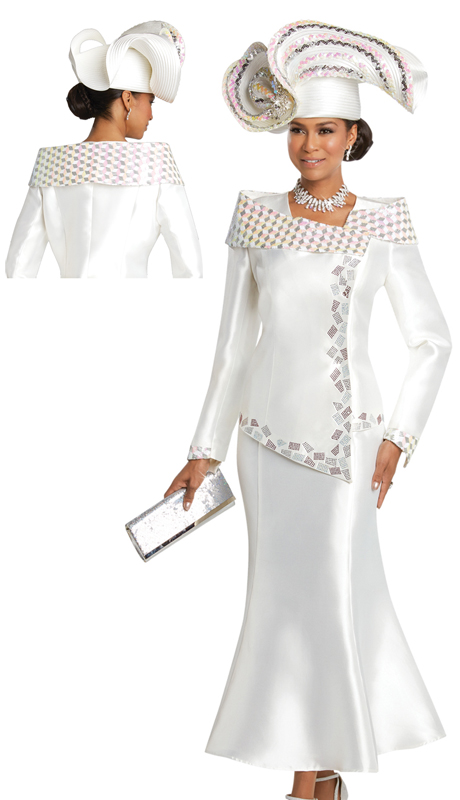 Donna Vinci 11736 ( 2pc Silk Suit For Church With Iridescent Sequin Collar And Rhinestone Trims )