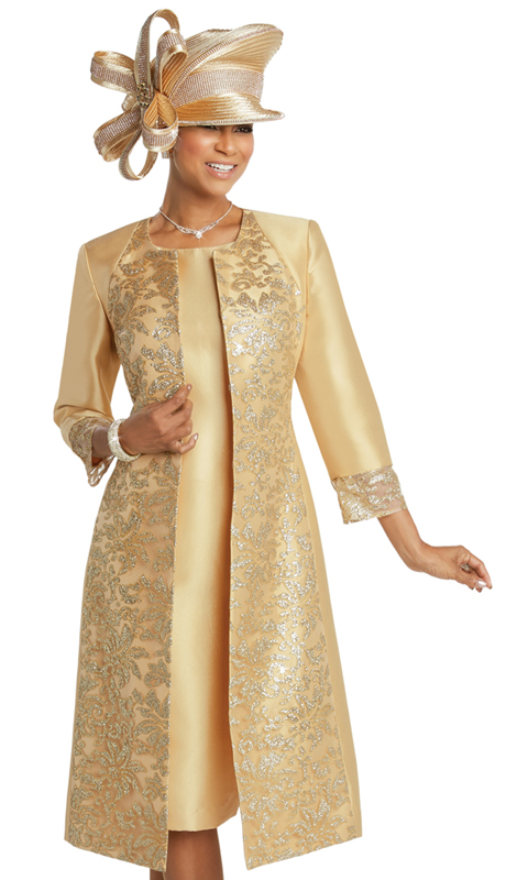 Donna Vinci 11735 ( 2pc Silk Womens Dress For Church With Embroidered Gold Novelty Lace )