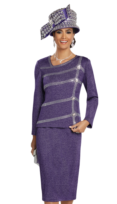 Donna Vinci 13260-CO ( 2pc Exclusive Knit Suit For Sunday With Rhinestone Design And Buttons )