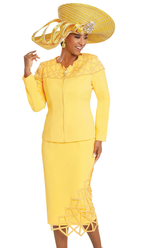 Donna Vinci 11730 ( 2pc Exclusive PeachSkin Ladies Church Suit With Yellow Crystals And Pearls )