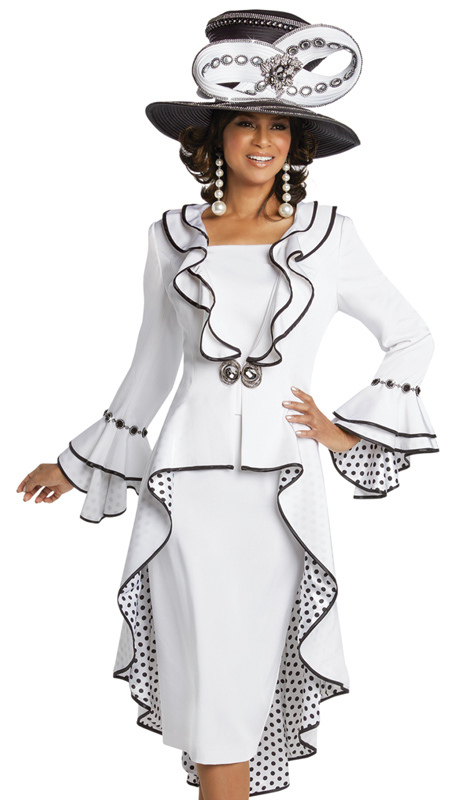Donna Vinci 11725 ( 2pc Exclusive PeachSkin Ladies Church Dress With Polka Dot Lining And Rhinestone Trims And Buckle )