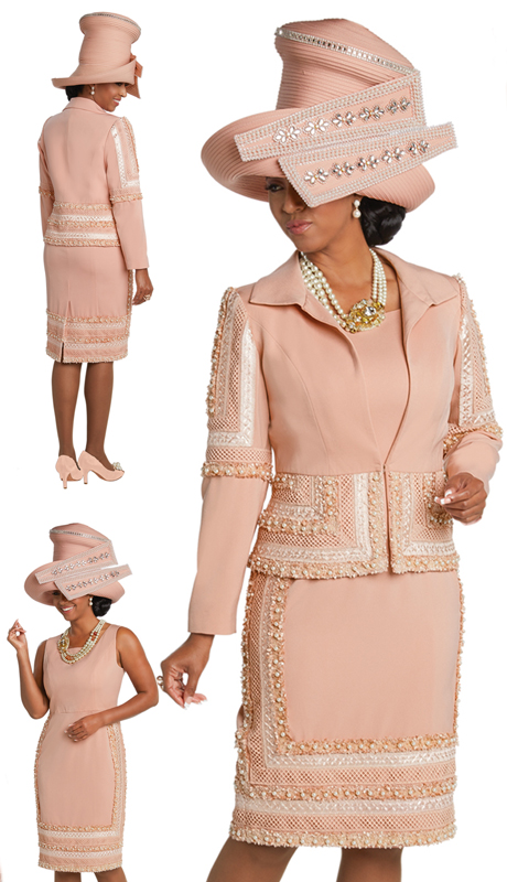 Donna Vinci 11715 ( 2pc Exclusive PeachSkin Suit For Sunday With Exclusive Embroidered Lace Fabric Trimmed With Pearls )