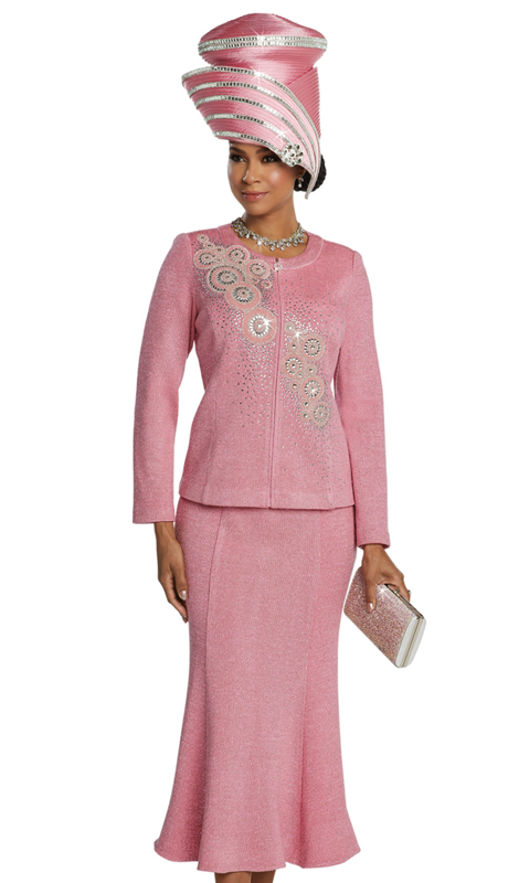 Donna Vinci 13259 ( 2pc Exclusive Knit Ladies Church Suit With Rhinestone Design Pattern )