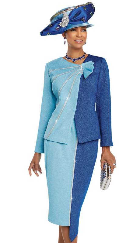 Donna Vinci 13258 ( 2pc Exclusive Knit Ladies Church Suit With Rhinestone Trims )