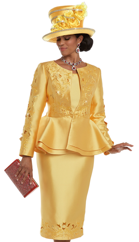 Donna Vinci 5590 ( 3pc Silk Skirt Suit For Church With Elaborate Cutout Embroidery Trimmed With Rhinestones )
