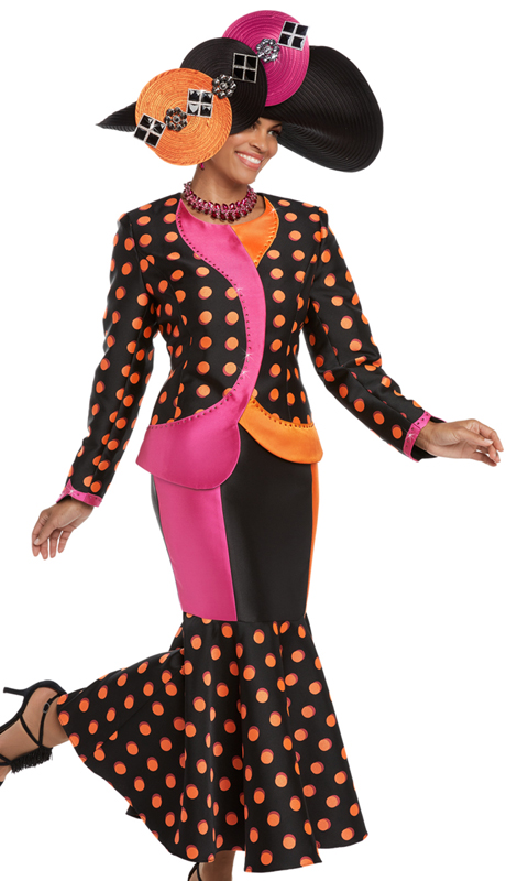 Donna Vinci 5584 ( 2pc Exclusive Novelty Women's Church Suit With Orange and Fuchsia Rhinestones )