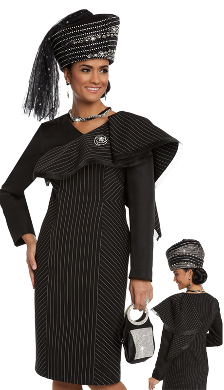 Donna Vinci 5596 ( 1pc Stripe And Solid Novelty Church Dress With Mesh Trim On Edge And Detachable Rhinestone Broach )
