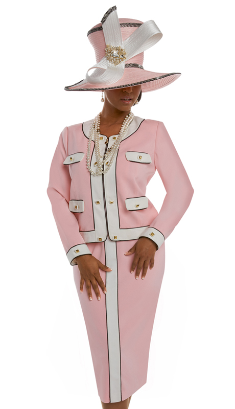 Donna Vinci 11556 ( 2pc Exclusive Peach Skin Women's Sunday Suit With Gold Buttons )