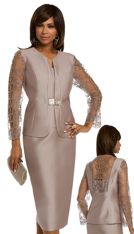 Donna Vinci 11555-CO ( 3pc Silk Women's Suit With Embroidered Sleeves And Back, Trimmed With Rhinestones, Beads, And A Beautiful Buckle )