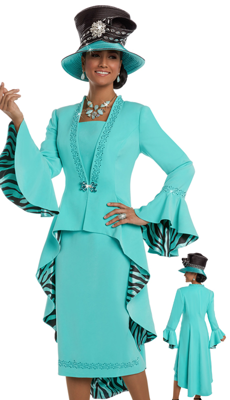 Donna VInci 11584 ( 2pc Exclusive Peach Skin Fabric And Printed Lining Ladies Suit With Rhinestone Trims And Buckle )