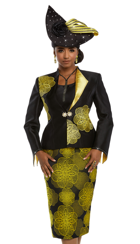 Donna Vinci 5583 ( 3pc Silk Suit for Church With Elaborate Embroidery and Rhinestone Buckle )