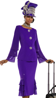 Donna Vinci 11617 ( 2pc Exclusive Peach Skin Women's Sunday Suit With Sleeves Trimmed With Purple Rhinestones And Large Rhinestone Buttons )
