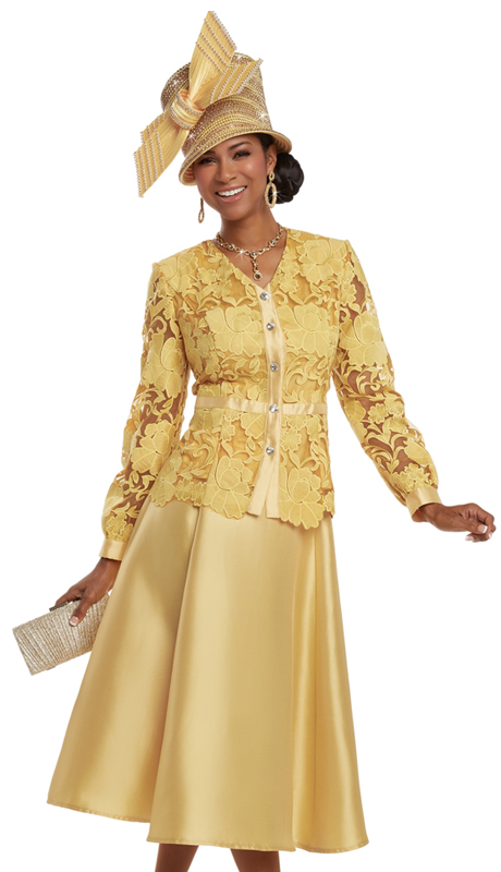 Donna Vinci 11633 ( 2pc Silk Fabric Women's Church Suit With Elaborate Embroidery On Organza With Rhinestone Buttons )