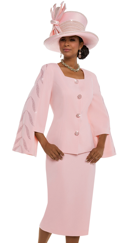 Donna Vinci 11618 ( 2pc Exclusive Peach Skin Fabric Suit For Church With Sleeves Trimmed With Rhinestones And Large Rhinestone Buttons )