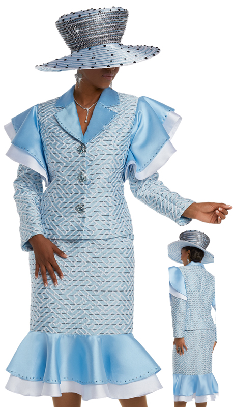 Donna Vinci 5586 ( 2pc Exclusive Novelty First Lady Church Suit With Blue Rhinestone Buttons and Trims )
