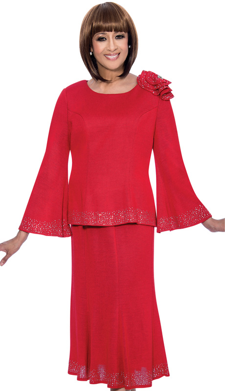 Dorinda Clark Cole 1012-RE ( 2pc Knit Designer Church Suit With Rhinestone Embellished, Bell Sleeved Jacket And Skirt, Shoulder With Ruffled Rose Detail )