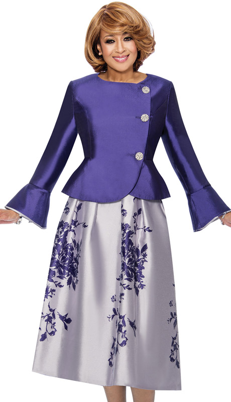 Dorinda Clark Cole 712- PUR ( 2pc Floral Skirt Suit With Peplum Jacket & Bell Cuffs )
