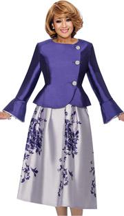 Dorinda Clark Cole 712- PUR ( 2pc Floral Skirt Suit With Peplum Jacket & Bell Cuffs )