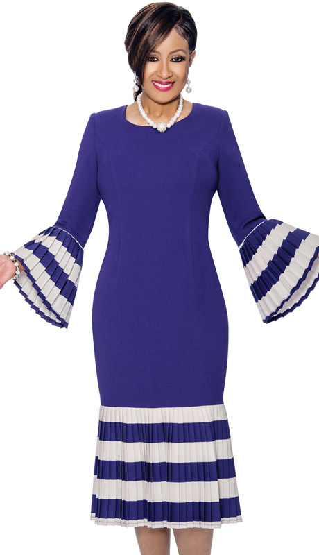 Dorinda Clark Cole 821 ( 1pc Scoopneck Pleated Flounce Dress With Stripes )