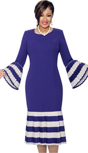 Dorinda Clark Cole 821 ( 1pc Scoopneck Pleated Flounce Dress With Stripes )