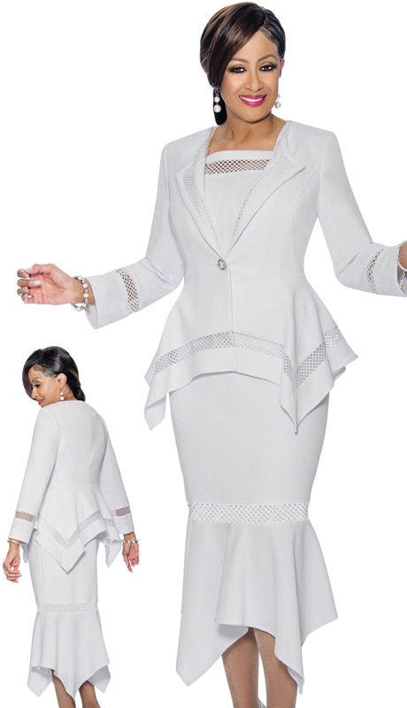 Dorinda Clark Cole 1153 ( 2pc Womens Flounce Skirt Suit With Sharkbite Hems )