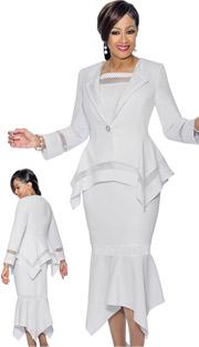 Dorinda Clark Cole 1153 ( 2pc Womens Flounce Skirt Suit With Sharkbite Hems )