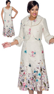 Dorinda Clark Cole 1122 ( 2pc Floral Printed Pleated Dress & Jacket Set With Rolled Cuffs )