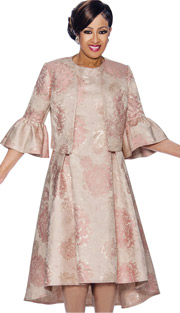 Dorinda Clark Cole 1102-PI ( 2pc Floral Printed Pleated Dress & Jacket Set With Bell Cuffs )