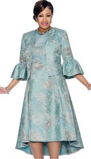 Dorinda Clark Cole 1102-SB ( 2pc Floral Printed Pleated Dress & Jacket Set With Bell Cuffs )
