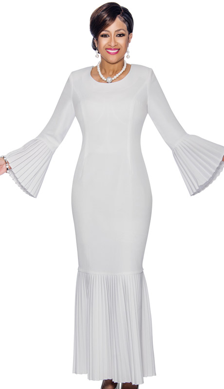 Dorinda Clark Cole 1381 ( 1pc First Lady Church Dress With Accordion Pleated Flounce Hem & Bell Cuffs )