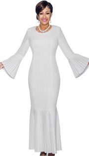 Dorinda Clark Cole 1381 ( 1pc First Lady Church Dress With Accordion Pleated Flounce Hem & Bell Cuffs )
