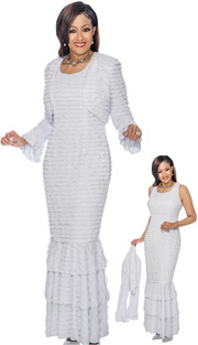 Dorinda Clark Cole 1372 ( 2pc Ruffle Textured Flounce Hem Dress & Bolero Style Jacket )
