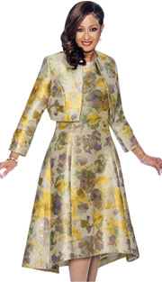 Dorinda Clark Cole 1362 YEL ( 2pc Printed A-Line Dress & Bolero Style Jacket )