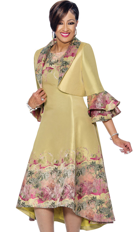 Dorinda Clark Cole 1352 (Print Accented Dress & Bolero Style Layered Bell Cuff Jacket)