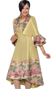 Dorinda Clark Cole 1352 (Print Accented Dress & Bolero Style Layered Bell Cuff Jacket)