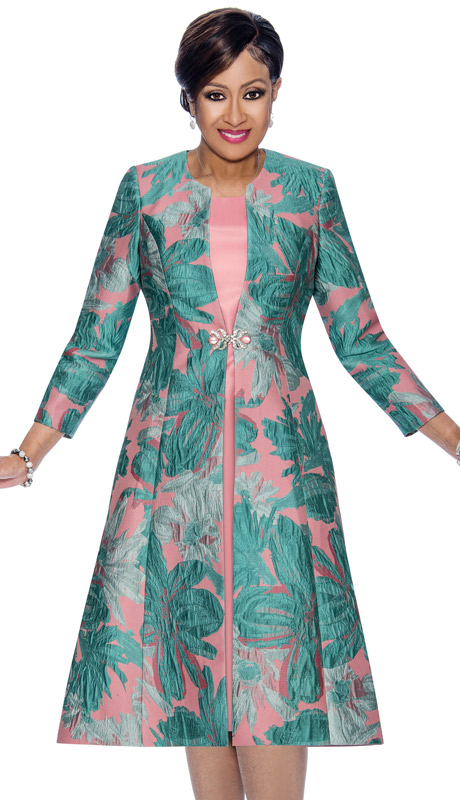 Dorinda Clark Cole 1322 (Pleated Jacket Dress With Floral Print)