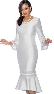 Dorinda Clark Cole 1161 (Womens Flounce Hem Dress With Cut Out Cuff Design)