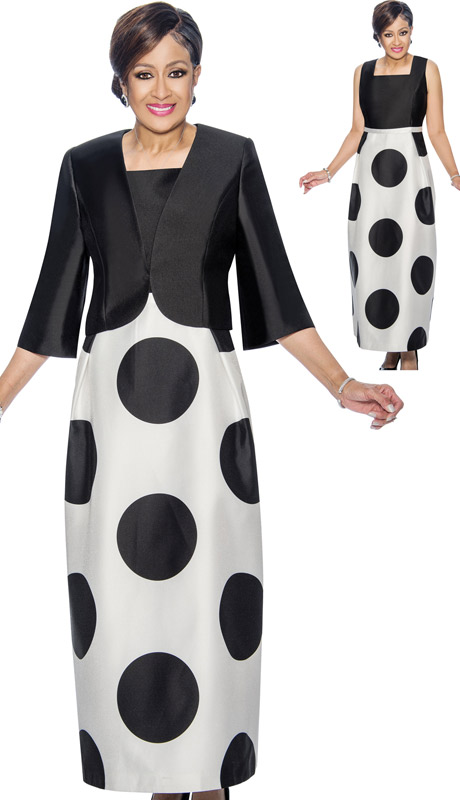 Dorinda Clark Cole 1392 ( 2pc Polka Dot Print Church Dress With Solid Bodice & Bolero )