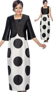 Dorinda Clark Cole 1392 ( 2pc Polka Dot Print Church Dress With Solid Bodice & Bolero )