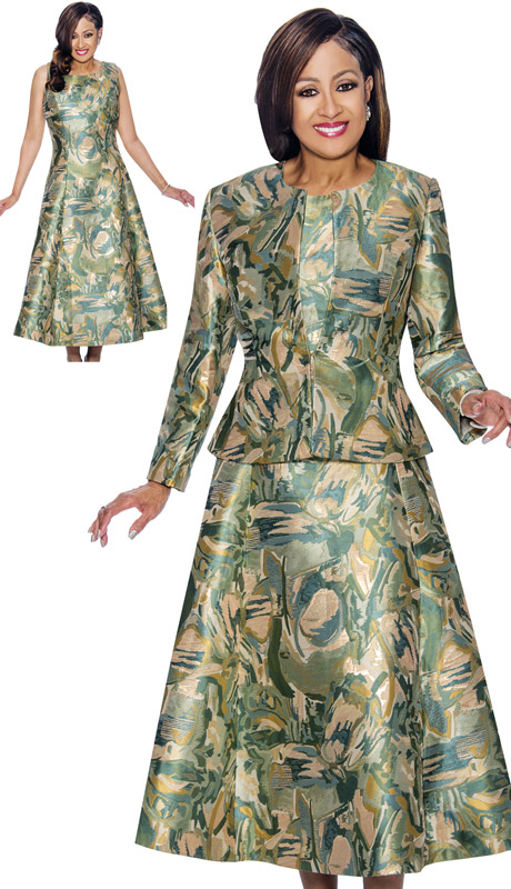 Dorinda Clark Cole 1442 ( 2pc Abstract Printed A-Line Dress & Jacket Set )
