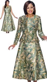 Dorinda Clark Cole 1442 ( 2pc Abstract Printed A-Line Dress & Jacket Set )