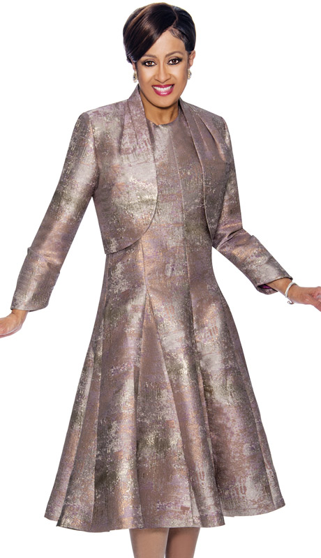 Dorinda Clark Cole 1432-CO  ( 2pc Pleated A-Line Dress & Bolero Style Jacket )
