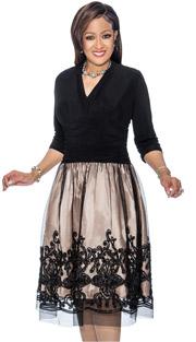 Dorinda Clark Cole 1421 ( 1pc Vee Neckline Pleated Dress With Embroidered Mesh Layer )
