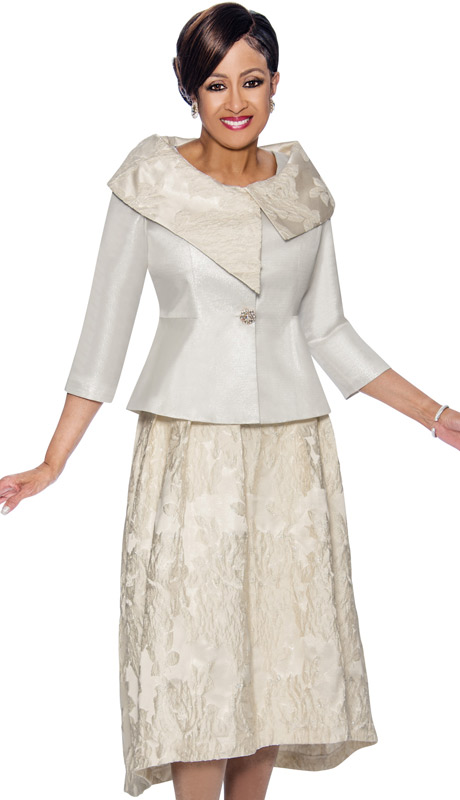 Dorinda Clark Cole 1412-IH-IV ( 2pc Ivory - Floral Accented Skirt Suit With Asymmetric Portrait Collar )