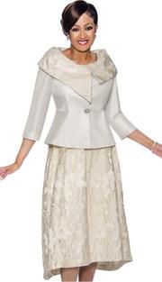 Dorinda Clark Cole 1412-IV ( 2pc Ivory - Floral Accented Skirt Suit With Asymmetric Portrait Collar )