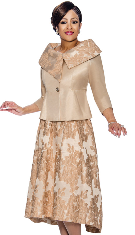 Dorinda Clark Cole 1412-IH-CH ( 2pc Champagne - Floral Accented Skirt Suit With Asymmetric Portrait Collar )
