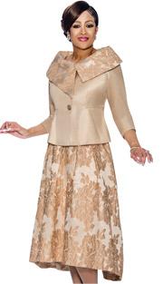 Dorinda Clark Cole 1412-CH ( 2pc Champagne - Floral Accented Skirt Suit With Asymmetric Portrait Collar )
